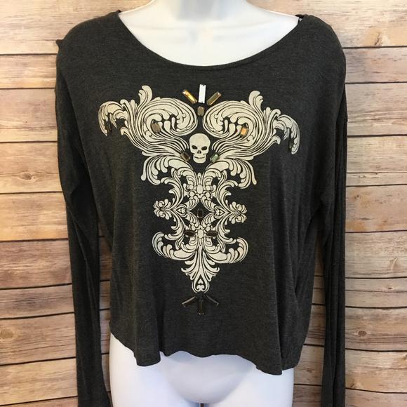 d421e055fa6ff5 H&M Tops | H M Black White Skull Gem Long Sleeve Shirt | Poshmark